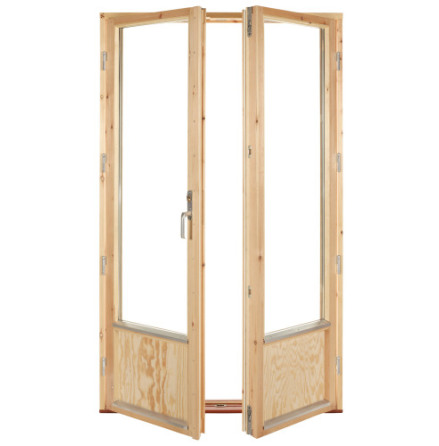 Fönsterdörr 2-glas Pardörr Obehandlad